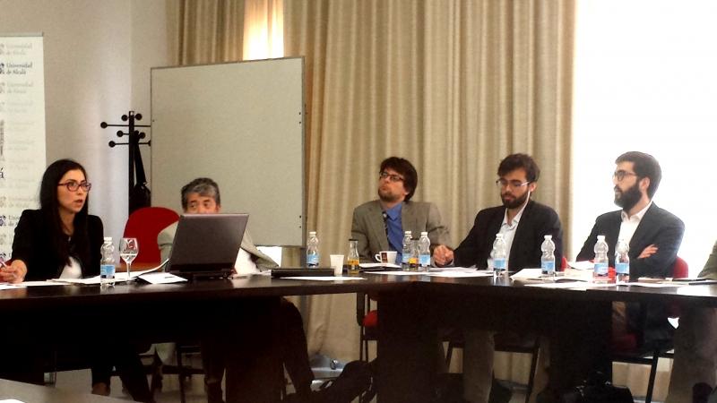 De izq. a dcha., la Prof. Suárez López, el Prof. Dr. Carbonell Mateul, el Prof. Basso, D. Leopoldo Puente Rodríguez y el Prof. Dr. Rodríguez Horcajo.