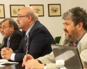 De izq. a dcha., los Profs. Dres. de Vicente Remesal, Luzón Peña, Peñaranda Ramos y Carbonell Mateu.