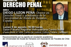 Cartel de la conferencia organizada por la Asociación Nacional de Fiscales de Chile. Salón Fiscalía Regional Metropolitana Centro Norte. Santiago, Chile. 8-8-2016