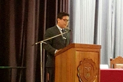El Prof. Dr. Cristhian Diaz durante el acto de investidura del Prof. Dr. Díaz y García Conlledo como Dr. h.c. por la Univ. Nacional de Piura