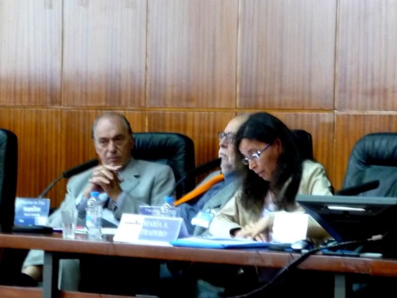 La Prof. Dra. Trapero Barreales durante su ponencia, junto a los Profs. Dres. Dres. h.c. mult. Zaffaroni y Muñoz Conde