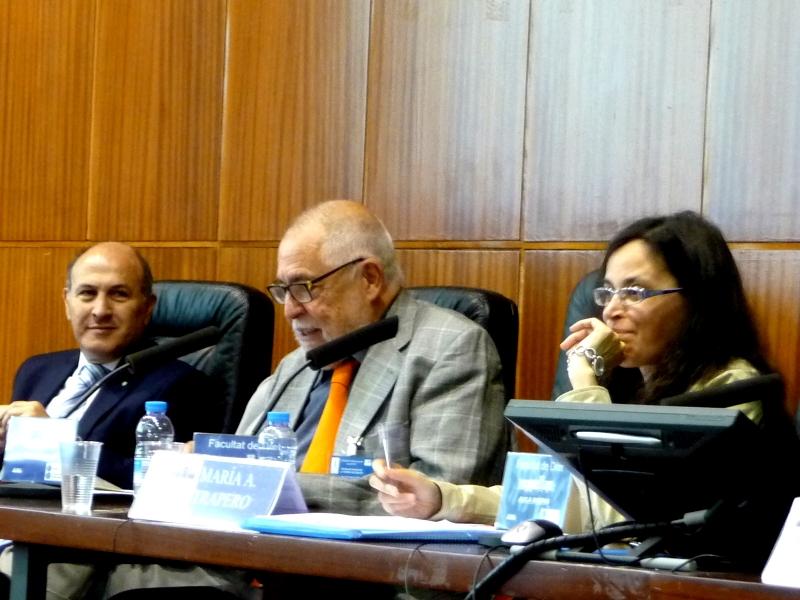 El Prof. Dr. Dr. h.c. mult. Muñoz Conde modera el debate, junto a los Profs. Dres. de Luca y Trapero Barreales