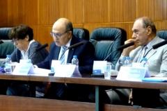 El Prof. Dr. de Luca durante su ponencia. A la izq., la Prof. Dra. Barber Burusco y, a la dcha., el Prof. Dr. Dr. h.c. mult. Zaffaroni