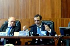 El Prof. Dr. Robles Planas durante su ponencia. A su izq., el Prof. Dr. Paredes Castañón.