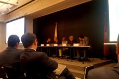 Imágenes de la tercera mesa, compuesta, de izq. a dcha., por los Profs. Dres. Rodríguez Kennedy, Greco, Vallejo Jiménez (moderadora), de Vicente Remesal y el Prof. Uribe Barrera.