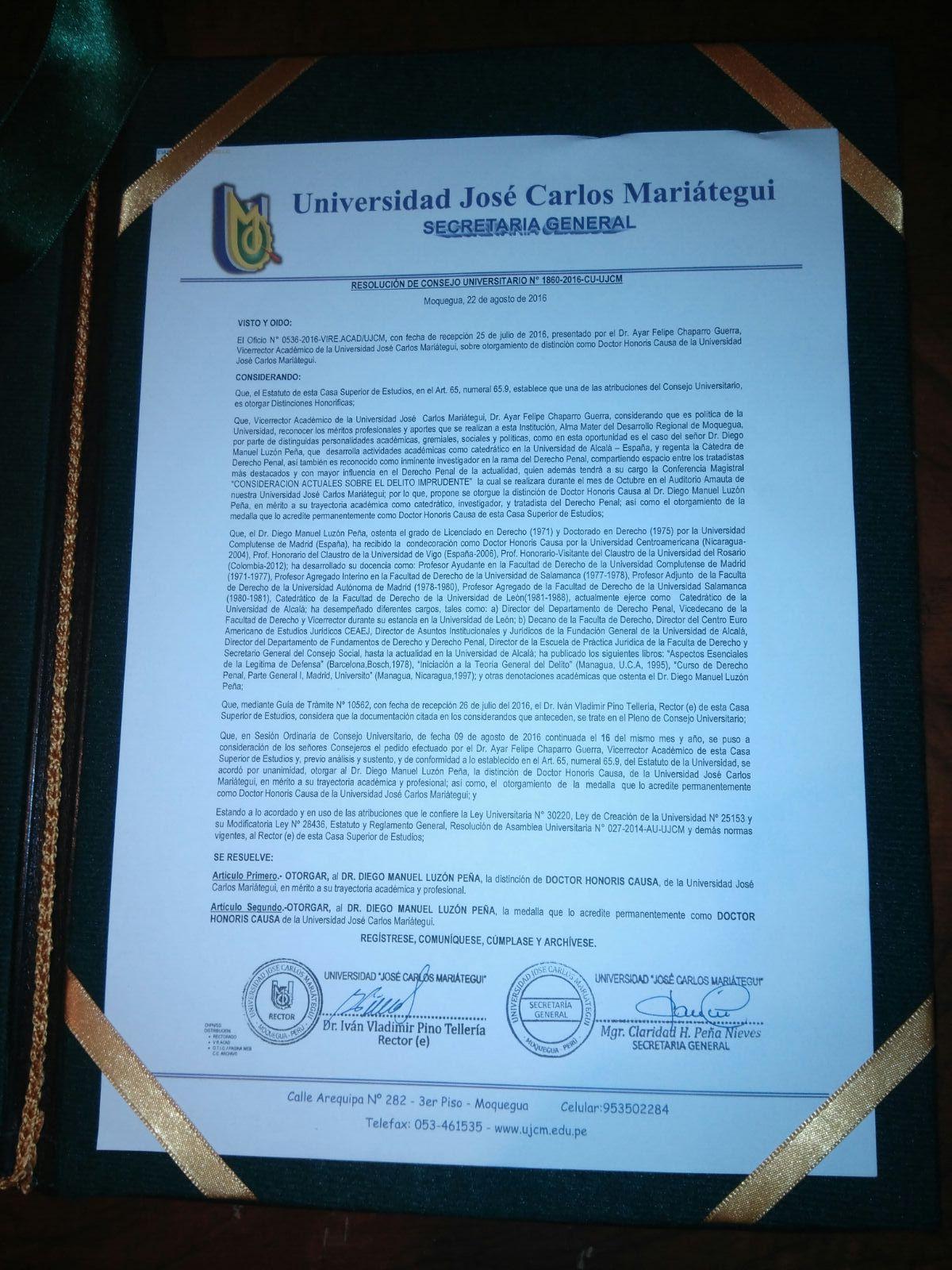 Resolución de nombramiento como Dr. h.c.