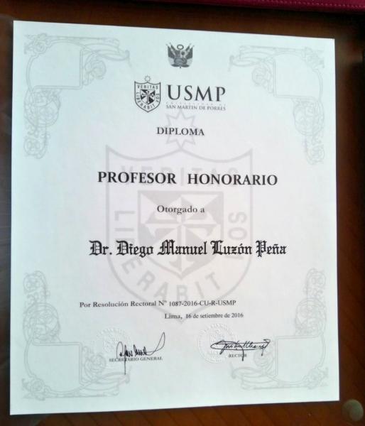 2016-9-16 titulo Prof. Honorario Univ. San Martin de Porres DLuzon, entrega 6 oct (2)