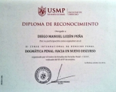 2016-10 4 diploma reconoc a DL XI Curso Internac Univ. San Martin de Porres