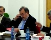 De izq. a dcha., los Profs. Dres. Díaz y García Conlledo, Luzón Peña y de Vicente Remesal, durante la ponencia de este último.